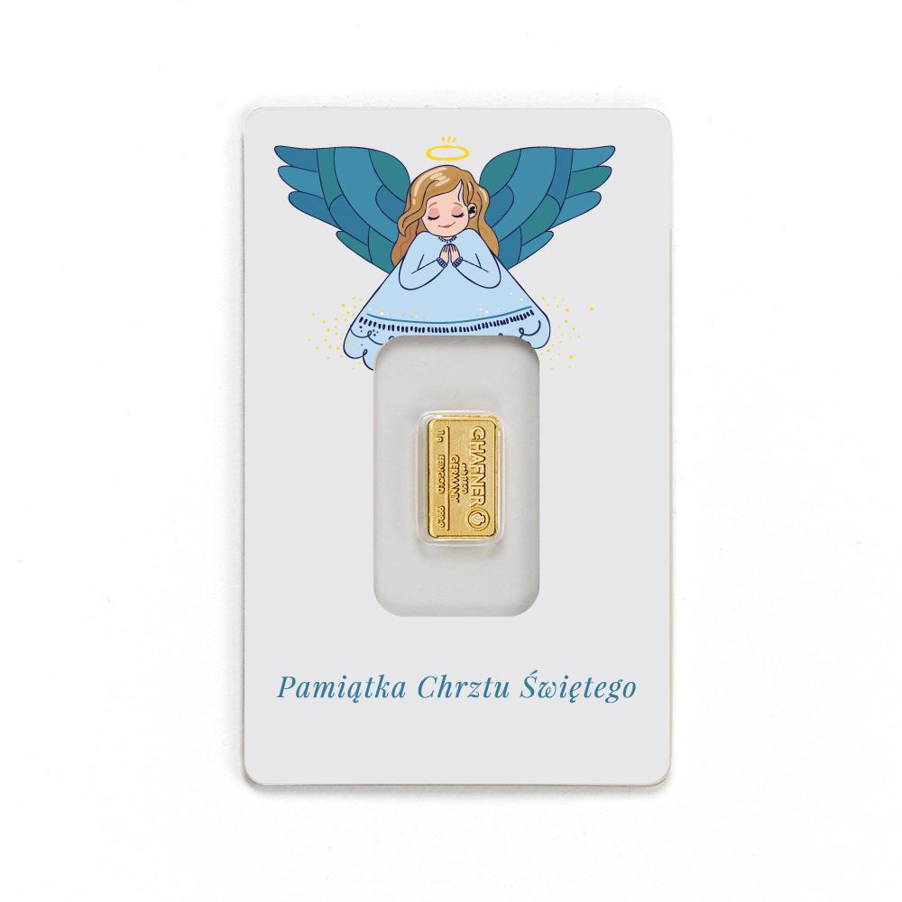 sztabki złote na chrzest, sztabki złota prezent z okazji chrztu